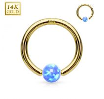 Piercing anneau captif en or jaune 14 carats pour nez oreille opale bleue