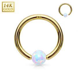 Piercing anneau captif en or jaune 14 carats pour nez oreille opale blanche