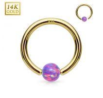 Piercing anneau captif en or jaune 14 carats pour nez oreille opale violette