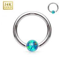 Piercing anneau captif en or blanc 14 carats pour nez oreille opale verte
