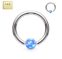 Piercing anneau captif en or blanc 14 carats pour nez oreille opale bleue