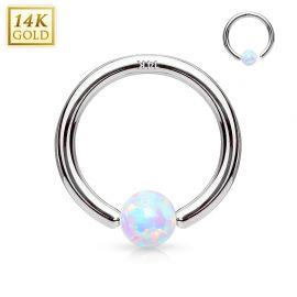 Piercing anneau captif en or blanc 14 carats pour nez oreille opale blanche