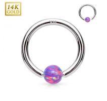 Piercing anneau captif en or blanc 14 carats pour nez oreille opale violette