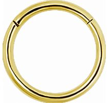 Piercing anneau segment en véritable or jaune 18 carats