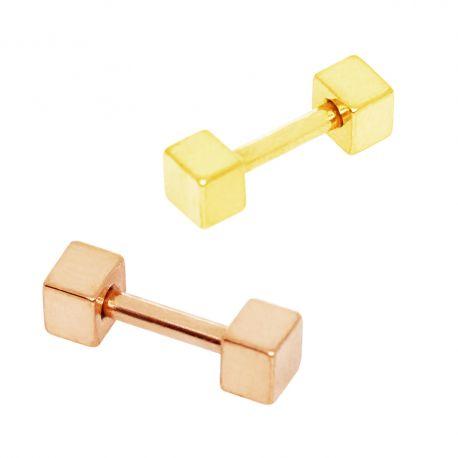 Piercing hélix plaqué or cubes