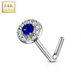 Piercing nez Or blanc 14 carats tige L rond gemme bleu