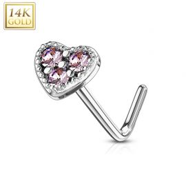 Piercing nez Or blanc 14 carats tige L coeur trois strass roses