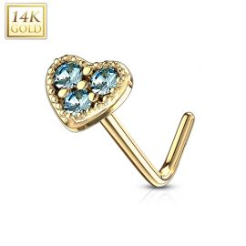 Piercing nez Or jaune 14 carats tige L coeur trois strass turquoise