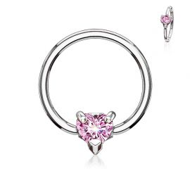 Piercing anneau captif coeur rose