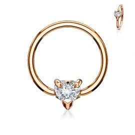 Piercing anneau captif plaqué or rose coeur blanc
