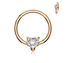 Piercing anneau captif plaqué or coeur blanc