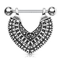 Piercing téton pendentif coeur vintage