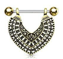 Piercing téton plaqué or pendentif coeur vintage