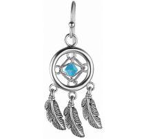 Paire boucles d'oreille attrape rêves serti d'un cristal de Swarovski turquoise