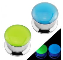 Piercing plug oreille acier glow in the dark
