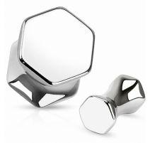 Piercing plug en acier chirurgical hexagone