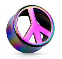 Piercing plug acrylique multicolore paix