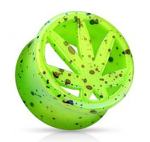Piercing plug acrylique vert feuille de cannabis