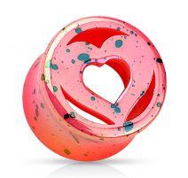 Piercing plug acrylique coeur rose