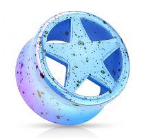 Piercing plug acrylique bleu étoile