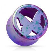 Piercing plug acrylique violet papillon