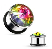 Piercing plug avec pierre aurore boréale