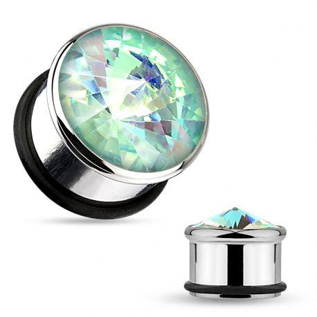 Piercing plug avec pierre aurore boréale turquoise