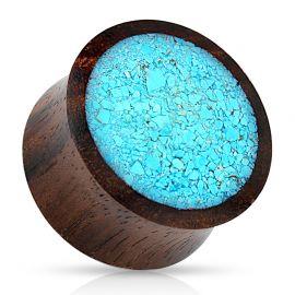 Piercing plug en bois avec turquoise écrasée