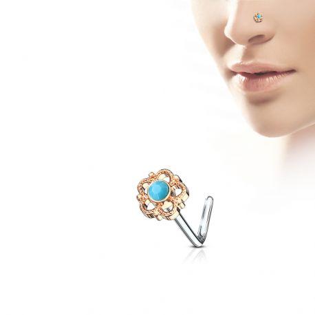 Piercing nez tige en L rosé fleur filigrane turquoise
