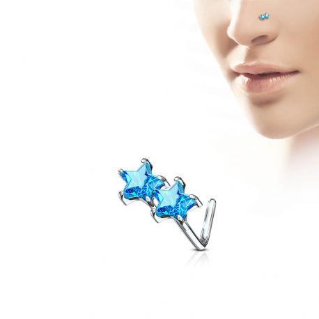 Piercing nez tige en L étoiles jumelles turquoises