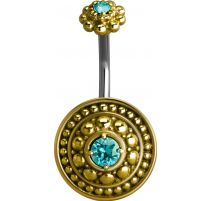 Piercing nombril bouclier tribal Crystal Swarovski turquoise