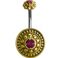 Piercing nombril bouclier tribal Crystal Swarovski fuchsia