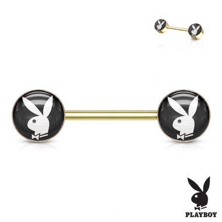 Piercing téton Playboy en acier doré