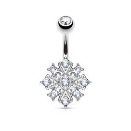 Piercing nombril étoile éclatante cristaux