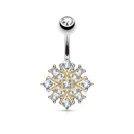Piercing nombril étoile éclatante dorée cristaux