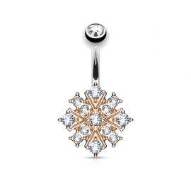 Piercing nombril étoile éclatante rosée cristaux