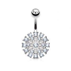 Piercing nombril bouclier pavé de cristaux