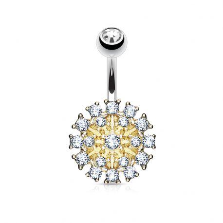 Piercing nombril bouclier doré pavé de cristaux