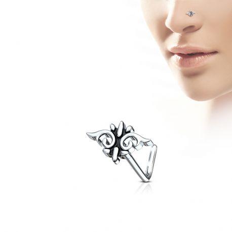 Piercing nez tige en L motif tribal