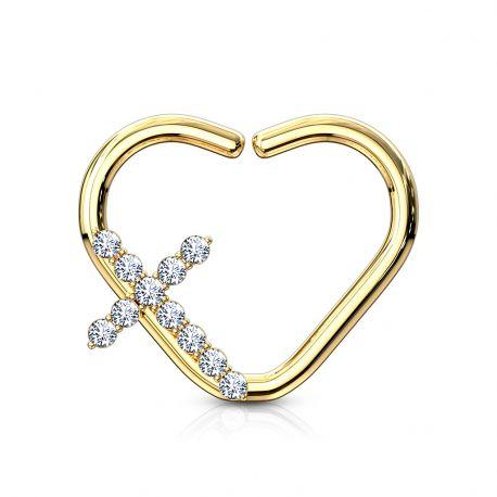 Piercing cartilage daith anneau coeur plaqué or croix