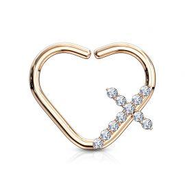 Piercing cartilage daith anneau coeur plaqué or rose croix