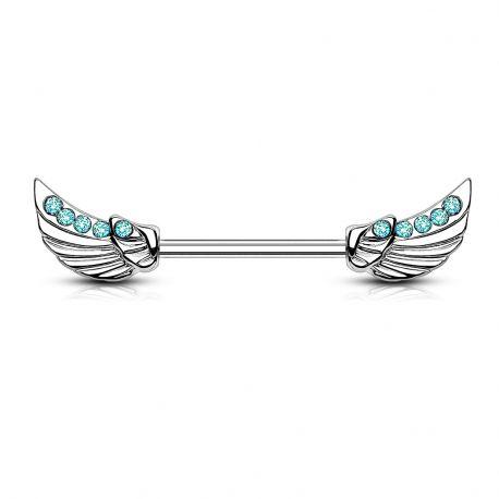 Piercing téton avec ailes d'ange gemmes turquoises