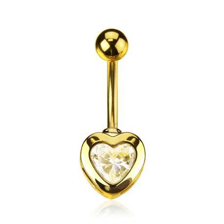 Piercing nombril plaqué or zirconium coeur
