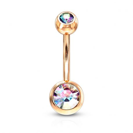 Piercing nombril plaqué or rose strass