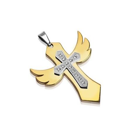 Pendentif Croix Angélique Multi-Gemmes