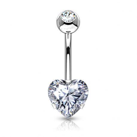 Piercing nombril pierre coeur