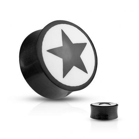 Piercing plug corne de buffle étoile