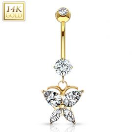 Piercing nombril Or 14 carats papillon