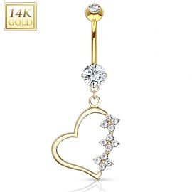 Piercing nombril Or jaune 14 carats Pendentif Coeur
