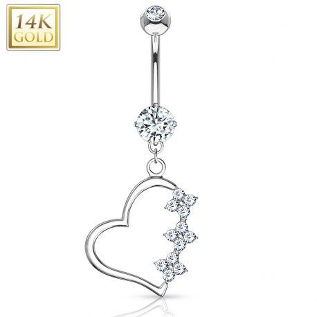 Piercing nombril Or blanc 14 carats Pendentif Coeur